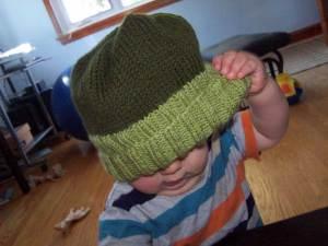 Rowan wearing Vi's hat